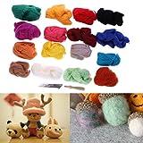 MIMI 16 Colors Wool Fibre Roving Felting Tool Kit with Needles Set Weaving Needlework Spinning Craft Kits