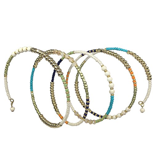 Multi Color Seed Bead Boho Bohemian Style Wrap Around Bracelet (Cream)