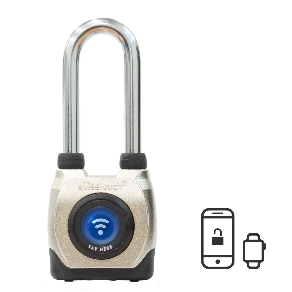 eGeeTouch Outdoor Smart Padlock 3rd Gen, Weatherproof, Rugged Design for Commercial use, Bluetooth c/w NFC Fob (Long Shackle) by eGeeTouch