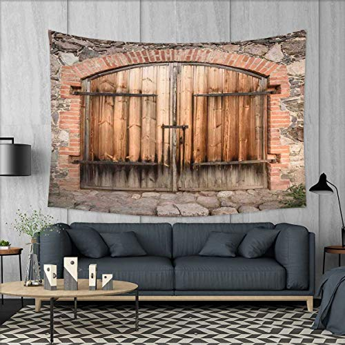 apestry Wall Hanging 3D Printing Wooden Door of a Stone House with Wrought Iron Elements Tuscany Architecture Photo Beach Throw Blanket 60