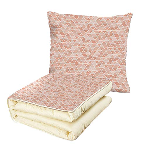 (Quilt Dual-Use Pillow Light Pink Geometric Mosaic Inspired Pattern Triangles Grid Retro Abstraction Decorative Multifunctional Air-Conditioning Quilt Pink Light Pink)