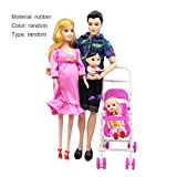 Hemore 5 People Dolls Suit Pregnant Doll Family Mom+Dad+Baby Son+2 Kids+Baby Carriage