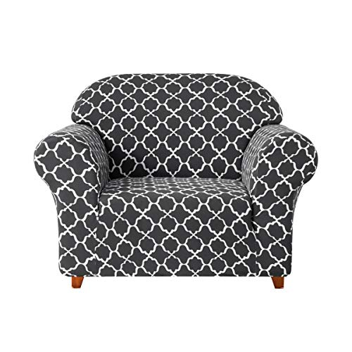 TIKAMI Printed Stretch Sofa Slipcovers, Slip Resistant Protective Colorful Slipcovers for Chair, Loveseat and Sofa Elastic Couch Protector for Living Room(Chair,Grey) (Room Chairs Printed Living)
