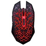 TENMOS M6 Wireless Gaming Mouse Rechargeable Soundless Optical Design with Nano Receiver for Mac PC Desktop Laptop (Red Light)