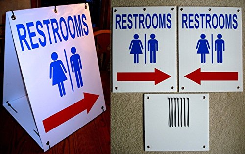 1 Set Luxurious Unique Restrooms Symbol Arrow Sign Yard Declare Coroplast Indoor Plastic Men Toilet Unisex Restroom Handicap Signage Mens Toilette Bathroom Size 18