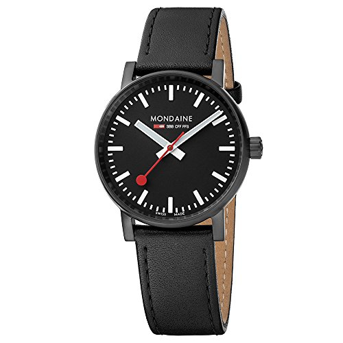 Mondaine 'SBB' Swiss Quartz Stainless Steel and Leather Casual Watch, Color:Black (Model: MSE.35121.LB)