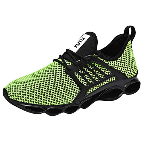 Respctful✿Mesh Sneakers for Men Casual Mesh Breathable Sports Running Shoes Lightweight Fashion Trainers Green]()