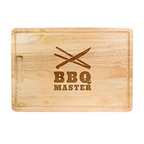 """Wooden Cutting Board for BBQ Lovers - Engraving """"BBQ Master"""" - Cutlery - Chopping Board and Serving Tray in 1 - Useful BBQ Tool - Amazing Present Idea for Men - Kitchen Accessories - 16"""