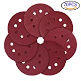 #10: 5-Inch 8-Hole Hook and Loop Sanding Discs, 40/80/120/240/320/600/800 Assorted Grits Sandpaper - Pack of 70