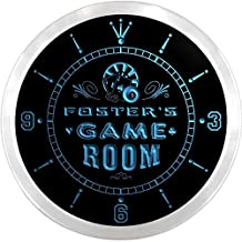 ncPL1093-b FOSTER'S Game Room Den Beer Bar LED Neon Sign Wall Clock