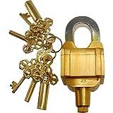Brass 6 Key Square Trick Puzzle Padlock - (3 Keys x 2)