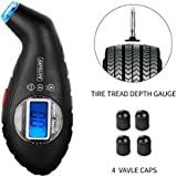 SAFELIFE Digital Tire Pressure Gauge 100 PSI 4 Settings, Color Coded Depth Gauge and 4 Valve Caps for bike, cars SUV and motorcycle