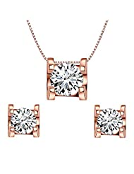 EleQueen 925 Sterling Silver 0.7 Carat Round CZ Wedding Necklace Earrings Jewelry Set Rose Gold Plated