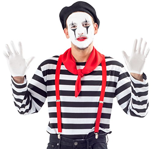 Men's Mime Costume Set with Makeup Kit (Adult XX-Large) -