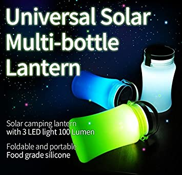 Eco-Friendly Solar Charging Universal Solar Lantern Bright LED Lantern – Camping Lantern Waterproof Silicone Bottle- for Hiking, Outages, Camping – Multi Purpose