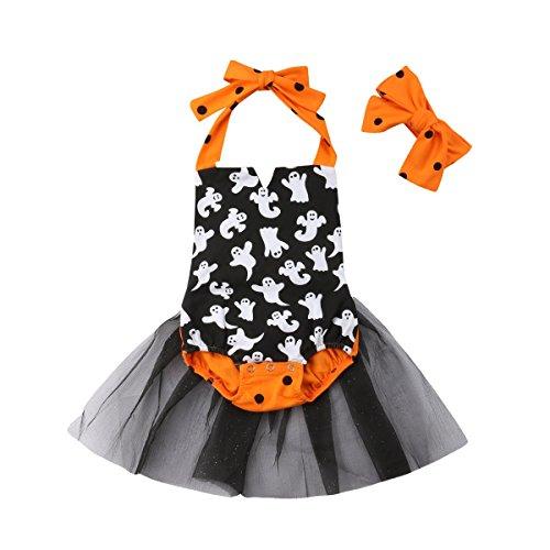 Newborn Infant Toddler Baby Girl Halloween Romper Halter Backless Ghost Bodysuit Jumpsuit Tutu Dress Headband (100/18-24M, Orange+Black)]()