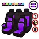 NEW ARRIVAL- CAR PASS RAINBOW Universal Fit Car Seat Cover -100% Breathable With 5mm Composite Sponge Inside,Airbag Compatible(14pcs, Purple)