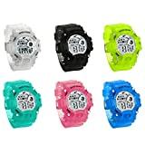 JewelryWe 6PCS Wholesale Kids Jelly White Sport Watch Week Date Alarm Digital Backlight Wrist Watches for Boys and Girls