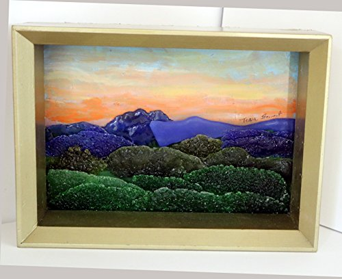 Mountain Landscape Painting Mixed Media Fused Recycled Stained Glass Art (Stewart Hand Signed)