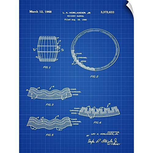 CANVAS ON DEMAND Whiskey Barrel Blueprint Wall Peel Art Print, 12