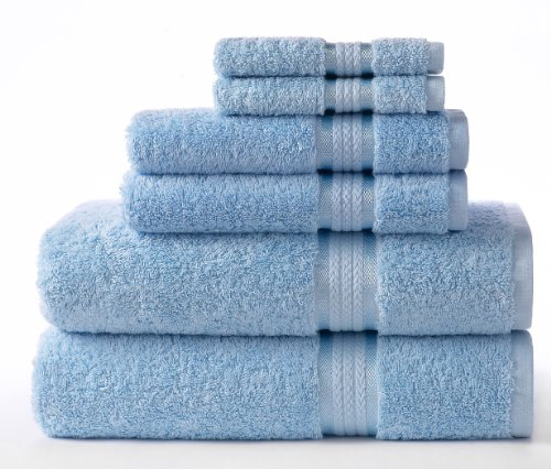 Cotton Craft Ultra Soft 6 Piece Towel Set Light Blue, Luxuri
