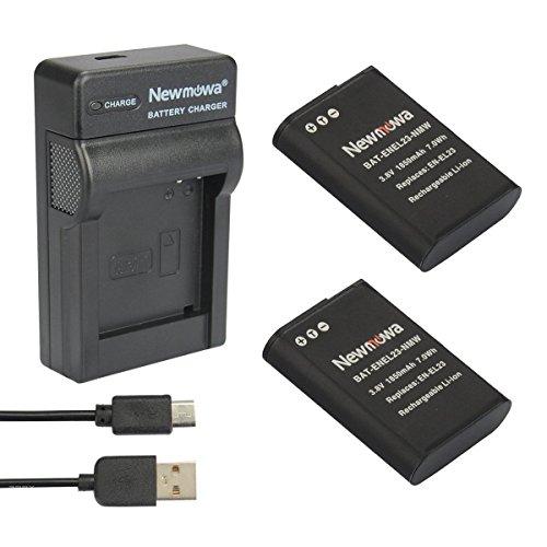 Newmowa® EN-EL23 Battery (2-Pack) and Portable Micro USB Charger kit for Nikon EN-EL23 and Nikon Coolpix B700, P600, P610, P610s, P900, P900s, S810c Camera (2 Batteries+1 Charger)