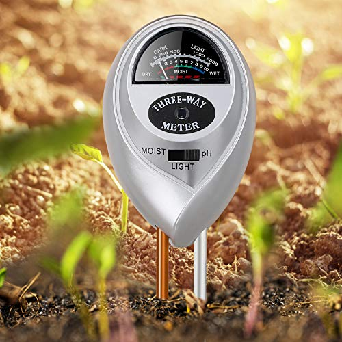 Jellas Soil Moisture Meter - 3 In 1 Soil Tester Plant Moisture Sensor Meter/Light/pH Tester for Home, Garden, Lawn, Farm Promote Plants Healthy Growth - Silver by Jellas (Image #2)