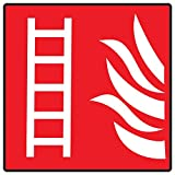 ComplianceSigns Vinyl Fire Ladder Symbol Label, 6 x 6 in. with Symbol Only, Red