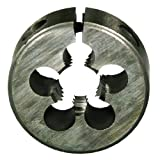 "Drillco 3100E Series High-Speed Steel Adjustable Round Split Pipe Threading Die, Uncoated (Bright) Finish, 1-1/2"" Diameter, M12 x 1.75"