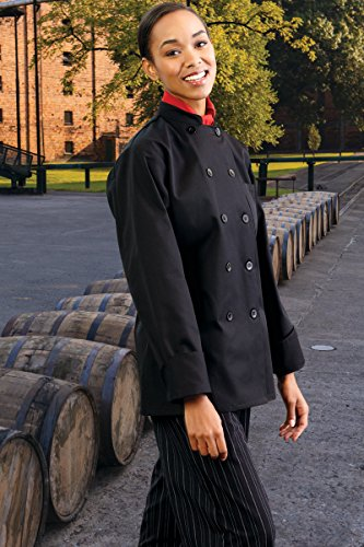 Uncommon Threads Women's Napa Fit Chef Coat, Black, X-Small