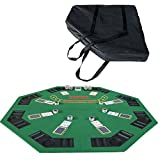 IDS Poker 48'' Folding Blackjack Texas Holdem Octagon Poker Table Top Green with Carrying Bag