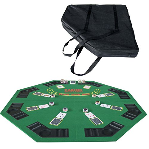 "IDS Poker 48"" Folding Blackjack Texas Holdem Octagon Poker Table Top Green with Carrying Bag"
