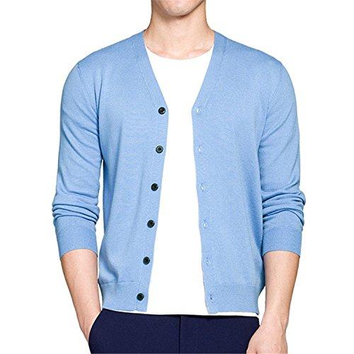 Price comparison product image NeeKer Jacket Men Sweater Autumn Spring V Neck Mens Sweater Woolen Male Cardigans Quality Knitwear Slim fit M-3XL 2823 Sky Blue XXL