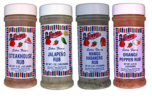 Bolner's Fiesta Extra Fancy Meat Rub 4 Flavor Variety Bundle: (1) Steakhouse Rub, (1) Jalapeno Rub, (1) Mango Habanero Rub, and (1) Orange Pepper Rub, 4.25-7 Oz. Ea.