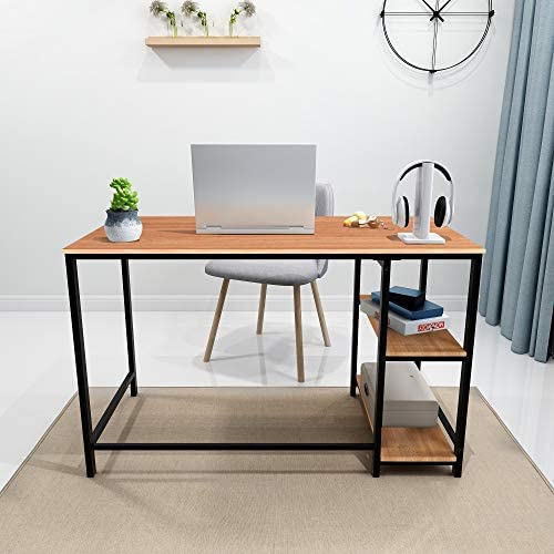 Writing Computer Desk Simple Study Desk Notebook Table for Home Office Metal Frame Easy Assembly with 2 Storage Shelves (Black/Teak)