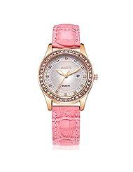 SevenAndEitgh Women's Classic Rose Tone Leather Watch,Luminous Design Pink Band Quartz WristWatch