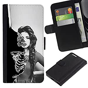 NEECELL GIFT forCITY // Billetera de cuero Caso Cubierta de protección Carcasa / Leather Wallet Case for Apple Iphone 6 PLUS 5.5 // Cráneo Esqueleto Sexy Girl