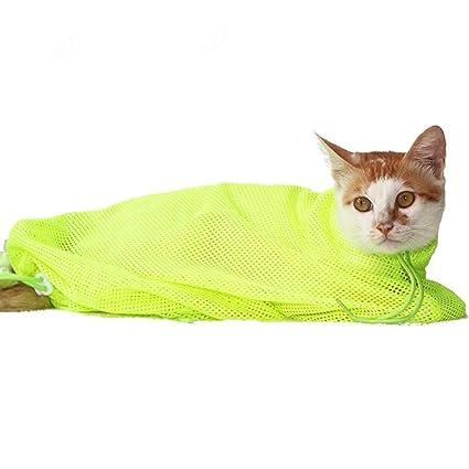 LDFV Bolso de Sujecion de Cosmetologia de Gato Mascotas de Malla,Gato Aseo Bolsa Scratch & morder resistió para Ducha, Limpieza de Orejas, ...