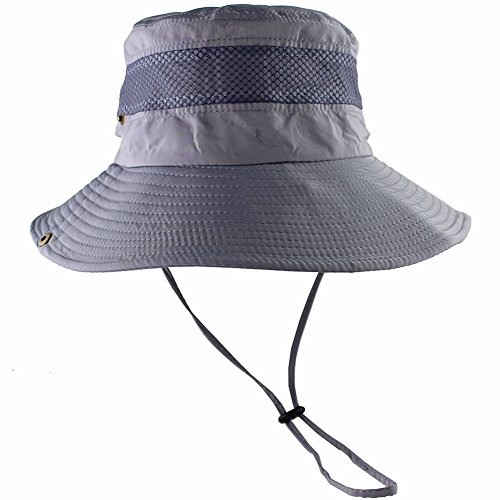 Breathable Wide Brim Boonie Hat Outdoor UPF 50+ Sun Protection Mesh Safari Cap for Travel Fishing (Upf 50 Booney Hat)