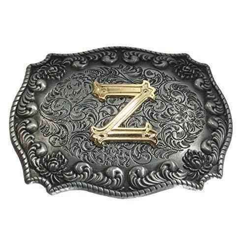 Western-Buckle 3D-Buchstabe Z mit echt Goldauflage G/ürtelschnalle