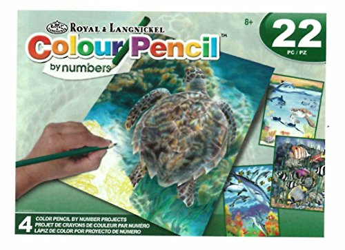 22 Piece Pencil By Number Kit - Sea Life