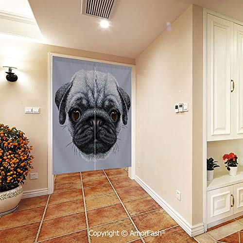 PUTIEN Customized Silk Hemp Japanese Noren Curtain Tapestry for Dinning Area,Pug Realistic Style Detailed Young Dog with Cute Giant Eyes Pure Breed Pug Blue Backdrop Decorative