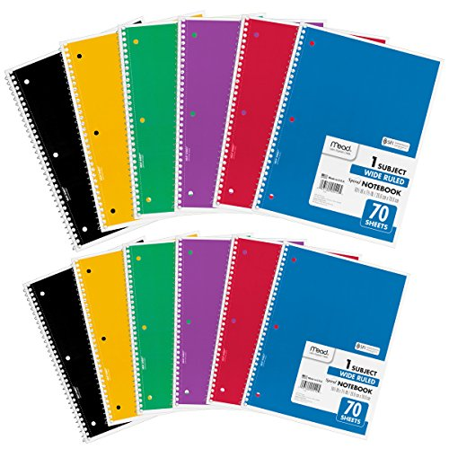 "Mead Spiral Notebooks, 1 Subject, Wide Ruled Paper, 70 Sheets, 10-1/2"" x 7-1/2"", Assorted Colors, 12 Pack (73699)"