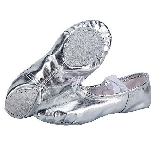 WOBAOS Ballet Slippers Dance Gymnastics Yoga Shoes Flats for Girls(Women/Big Kid/Little Kid/Toddler)(Silvery, 2.5 Little -