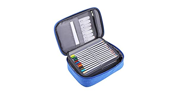 Estuche para lápices, 72 Ranuras Funda Multifuncional de Tela Plegable Estuche para lápices Bolso con Cremallera de Gran Capacidad 24 x 18 x 6.5 cm(Azul): Amazon.es: Hogar