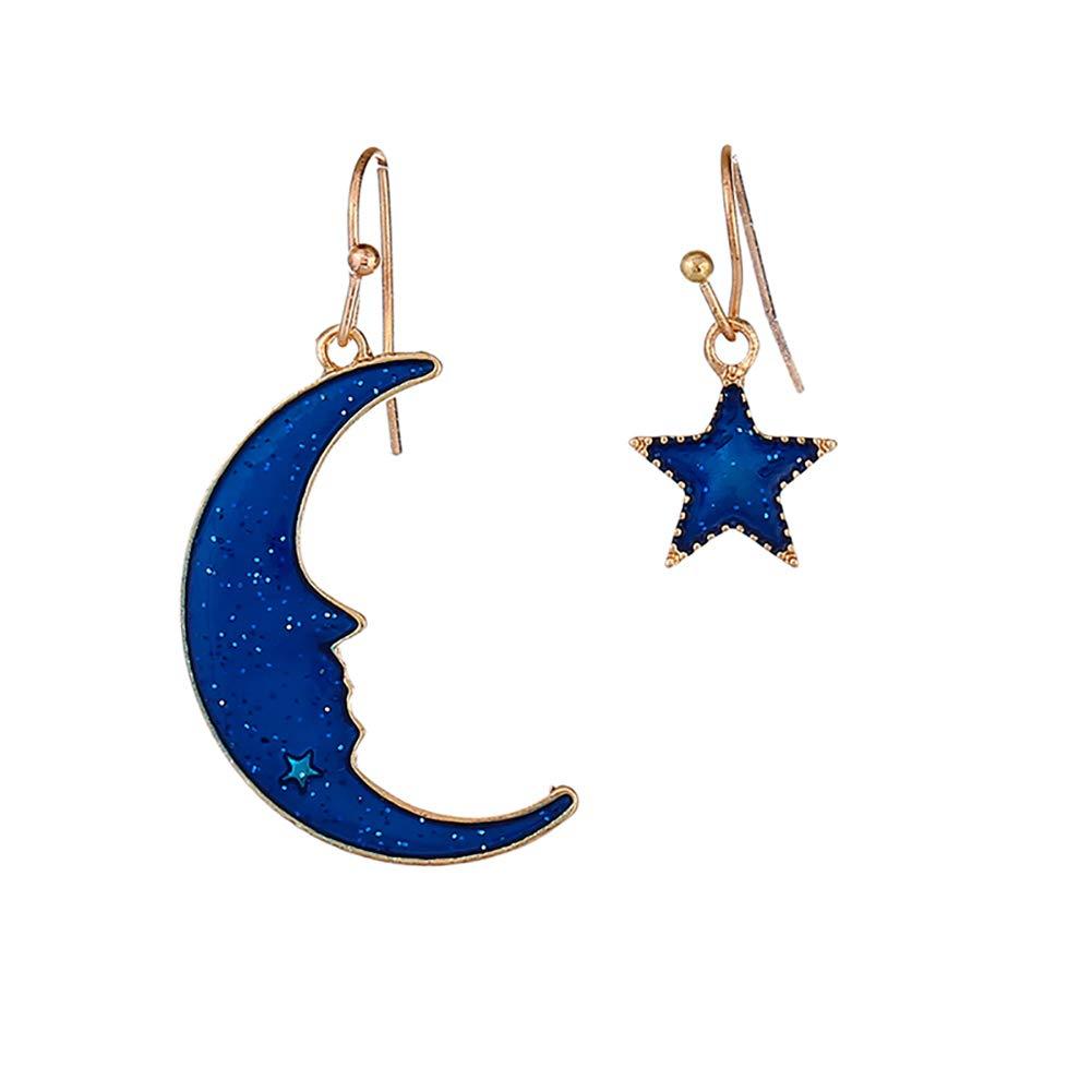 Infgreate Fashion Dreamlike Jewelry Elegant Women Asymmetric Blue Moon Star Hook Earrings Beautiful And Lovely Jewelry Blue