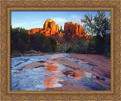 AZ, Sedona Cathedral Rock Reflects in Oak Creek 24x20 Gold Ornate Wood Framed Canvas Art by Talbot Frank, -