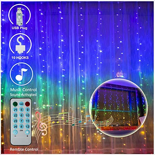 Music Activated Led (Sound Activated Window Curtain String Lights, 300 LED USB Powered Fairy Icicle Lights, Music Control Colorchanging Decorative Christmas Lights for Wedding, Home, Party, Bedroom (Music)
