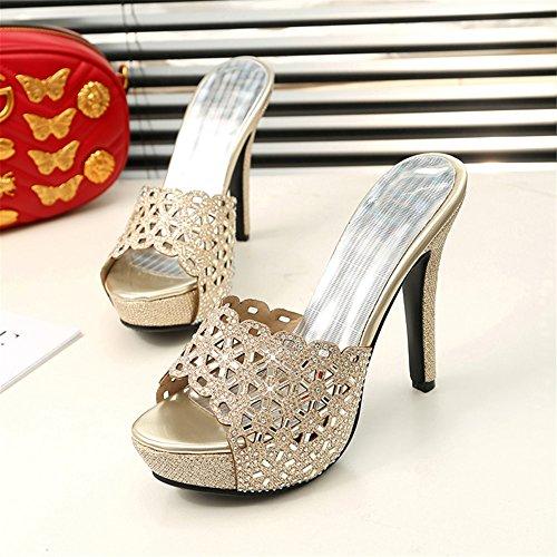 Estivi Sandali A On Tacco Toe Gold Spillo Open Slide Ye Slip Shoes Donna Dress Yxa0pqw