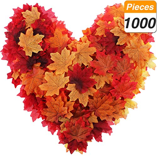- Jovitec Maple Leaves Artificial Maple Leaves Assorted Color Autumn Fall Maple Leaves Wedding Table Scatters Halloween Party Home Garden Decorations (10 Colors, 1000 Pieces)